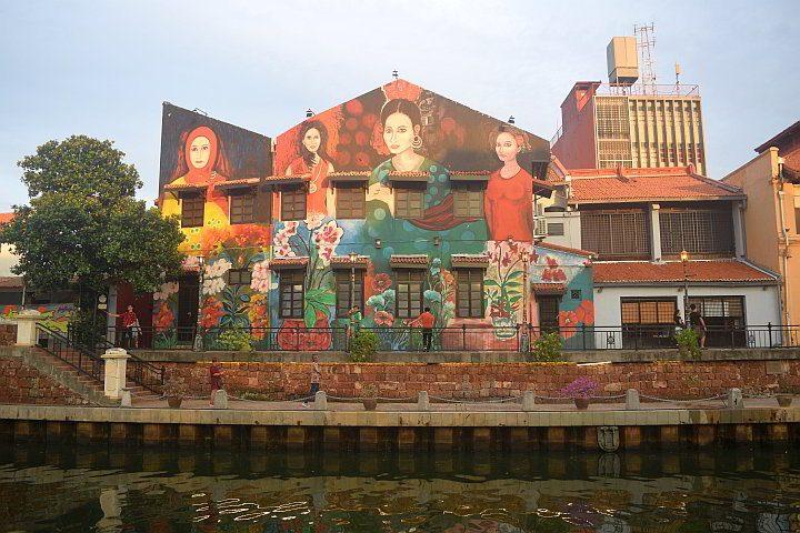 """Melaka street art mural """"Nyonya Ladies"""" along the Melaka River"""