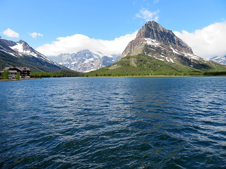 Swift Current Lake mountain views are amazing at East Glacier in Montana