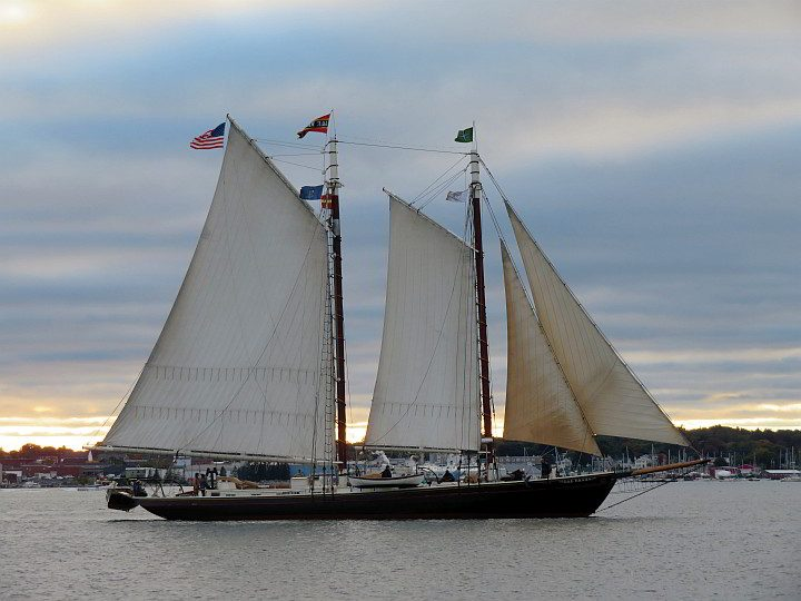 Tall sailing ship in the Penobscot Bay near the Rockland Breakwater