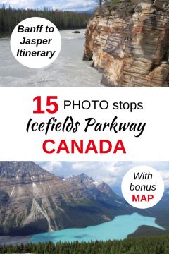 Banff to Jasper itinerary with 15 photo stops on the Icefields Parkway Canada including Peyto Lake and Athabasca Falls canyon