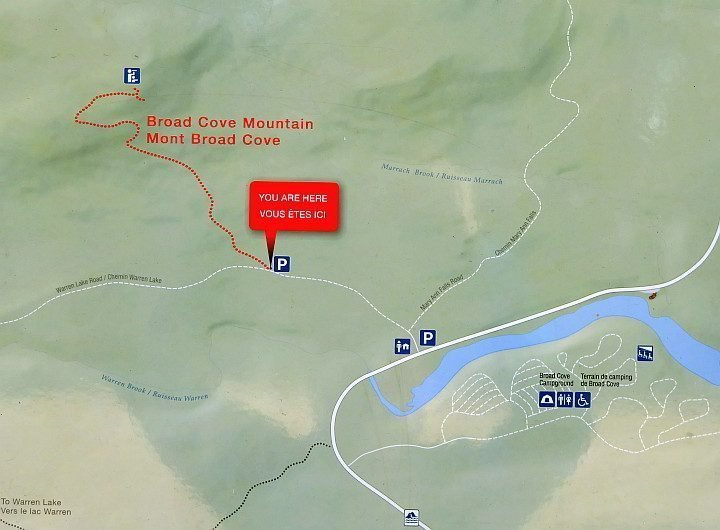 Broad Cove Mountain Trail map shows the route up the mountain to the lookout