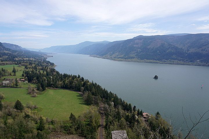 Columbia River Gorge view of the Columbia River and Oregon from the Washington State side of the river