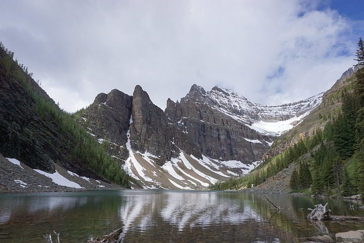Lake Agnes summit includes this stunning view of the lake and jagged Rocky Mountains
