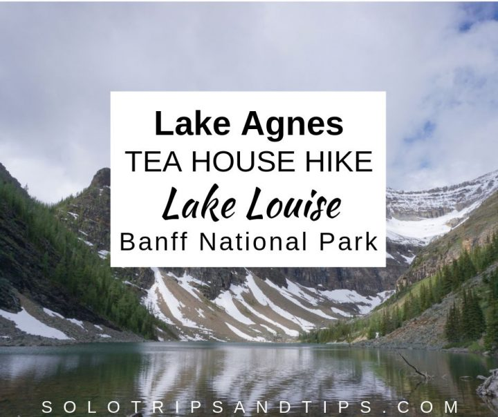 Lake Agnes Tea House hike takes you to this beautiful lake and panoramic Rocky Mountain views in Alberta