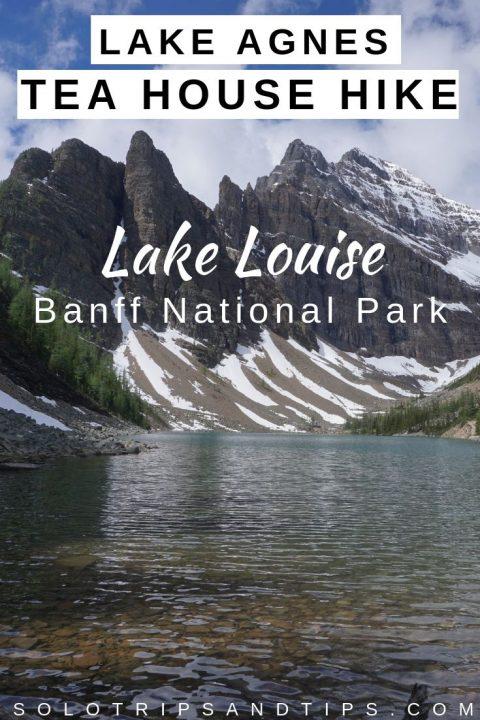 Lake Agnes Tea House hiking trail from Lake Louise in Banff National Park Alberta