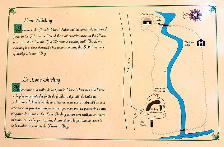 Lone Shielding trail map with information about the area