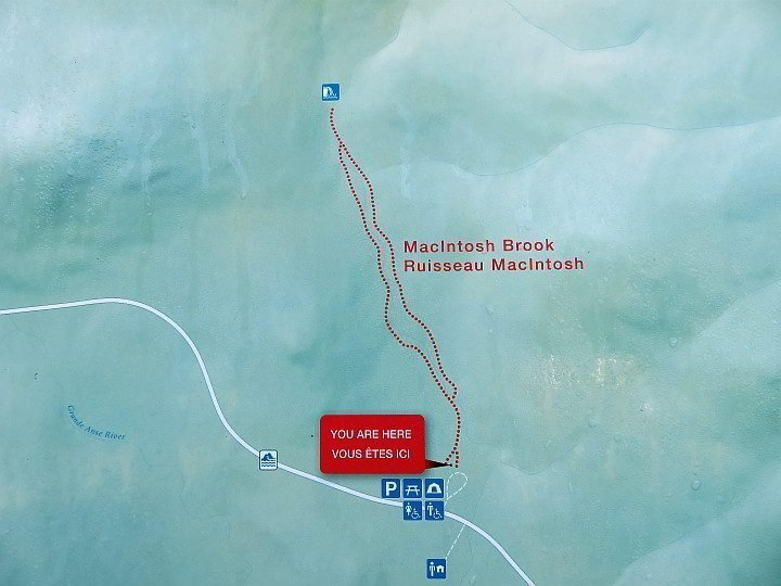 MacIntosh Brook map - shows camping, toilets, and picnic tables at the trailhead parking lot