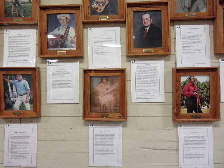 Photos and biographies of musicians at the Cajun Music Hall of Fame and Museum in Eunice Louisiana