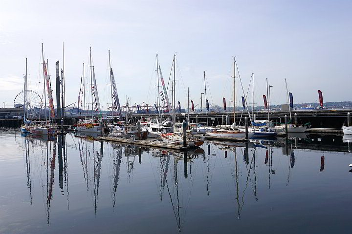 Sailboats docked at Pier 66 at downtown Seattle waterfront