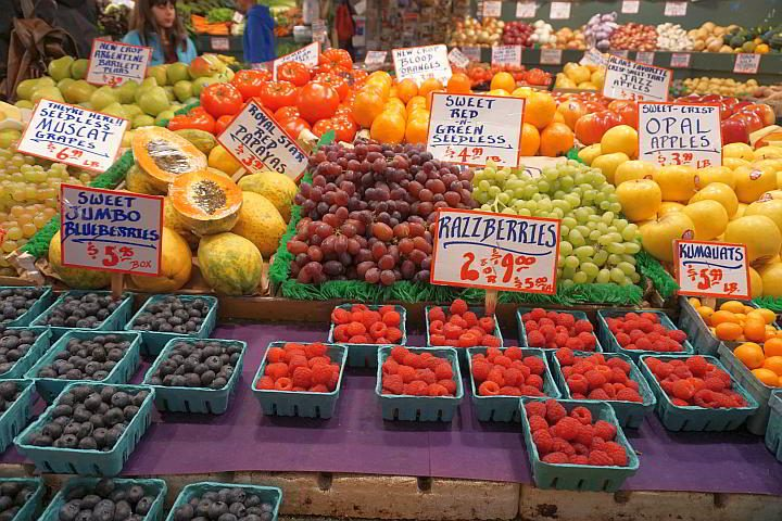 Pike Place Market features loads of food stalls like this fruit and veggie place