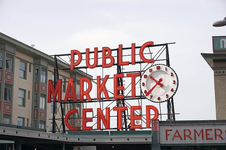 Public Market Center is the sign for Pike Place Market in downtown Seattle