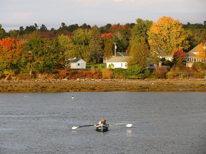 Rowing at Belfast Harbor in Maine during October fall foliage season