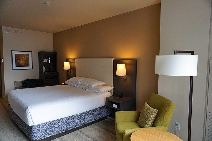 Modern style hotel room at the Hyatt Olive 8 in downtown Seattle
