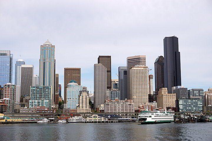 Seattle skyline view from Washington Ferries trip across Elliott Bay
