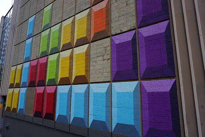 Urban art in downtown Seattle - attention grabbing colorful squares of purple, blue, red, yellow, lime green, and orange