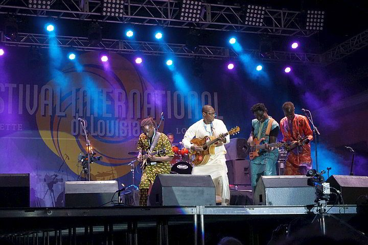 Sidi Toure band performing at Festival International free music event in Lafayette LA