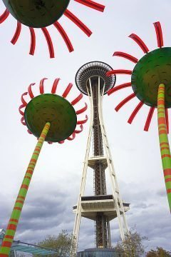 Seattle Space Needle surrounded by Sonic Bloom flowers - one of the highlights on a day in Seattle