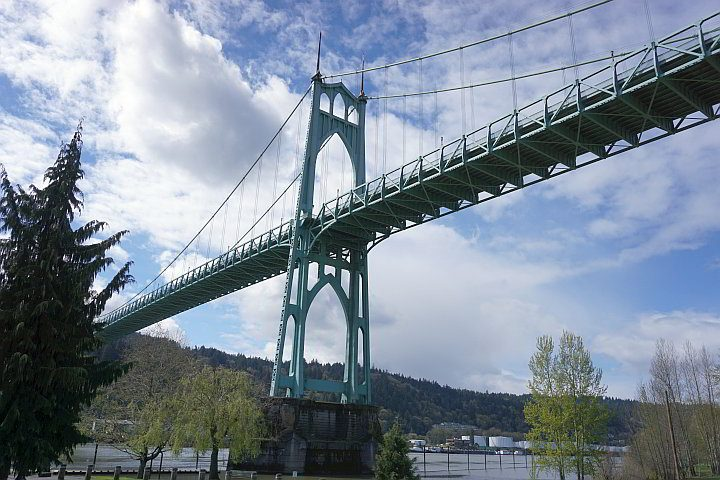 St Johns Bridge from Cathedral Park neighborhood on the North Portland Peninsula