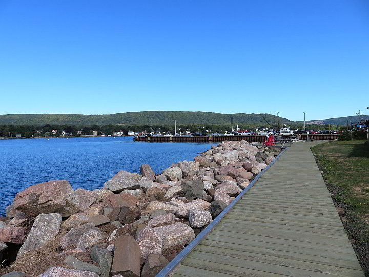 Annapolis Royal waterfront promenade in Nova Scotia