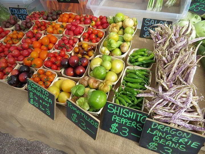Annapolis Royal farmers market with an abundance of locally grown vegetables