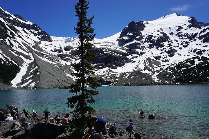 Upper Joffre Lake is the trail summit with awesome mountain views surrounding the turquoise lake