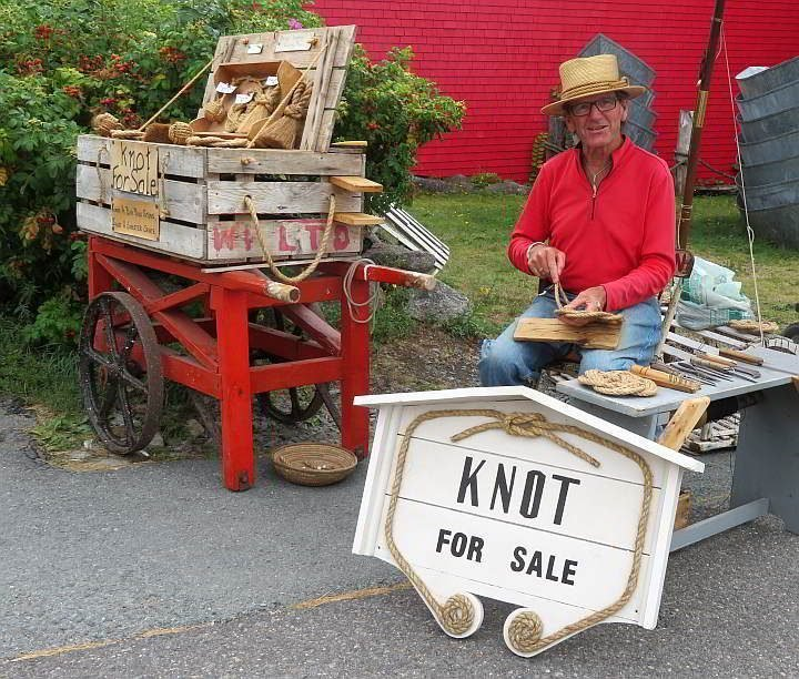 Knot For Sale is an amusing name for this business selling knotted rope souvenirs made by a local in Lunenburg
