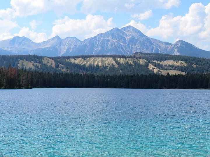 Stunningly beautiful Lake Annette and the Rocky Mountains in Jasper National Park
