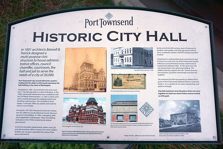 Historic info about City Hall building Port Townsend