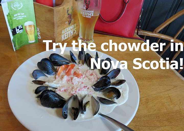 Try the seafood chowder in Nova Scotia - this version is from Coastal Restaurant in Ingonish Cape Breton