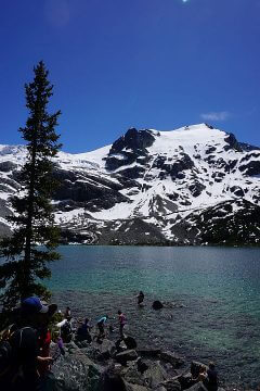 Upper Joffre Lake is a beautiful glacial lake with overnight camping