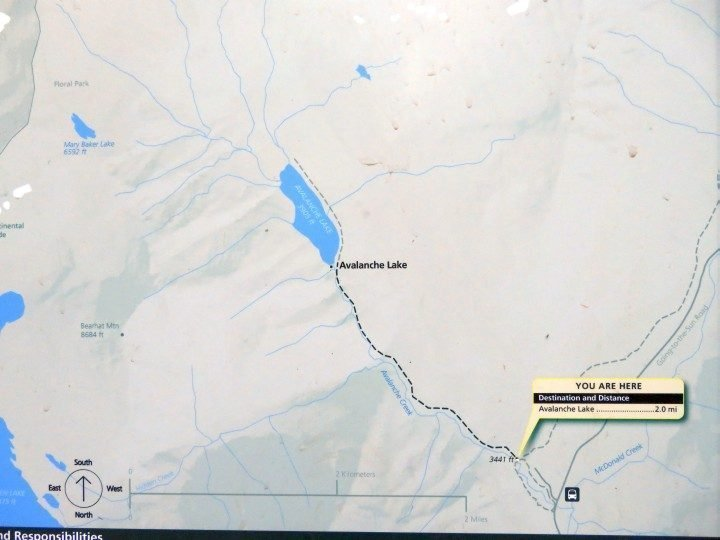 Map of Avalanche Lake trail - a beautiful West Glacier hike