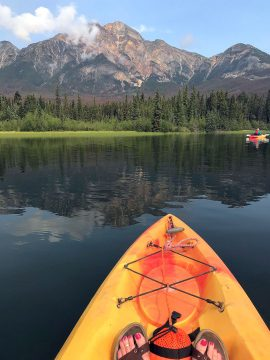 Kayaking in Jasper National Park in the summer