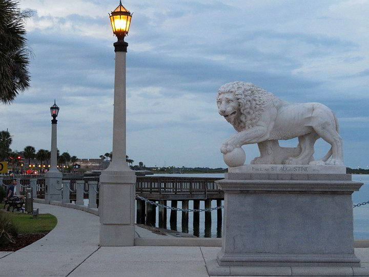 Bayfront St Augustine at Bridge of Lions sculpture of a lion