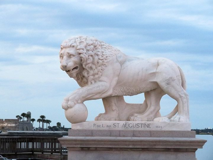 A lion sculpture at the Bridge of Lions in St Augustine FL