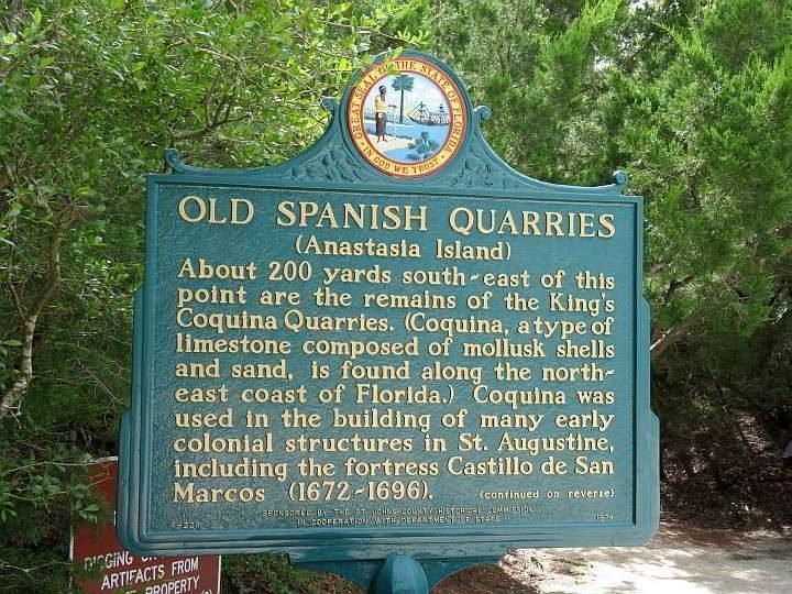 Old Spanish Quarries sign in Anastasia Island Florida - the location of the coquina stone used for many early structures in St Augustine