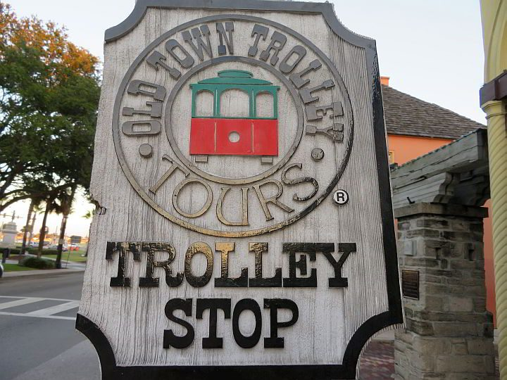 Old Town Trolley Tours stop in St Augustine - a fun way to explore the city