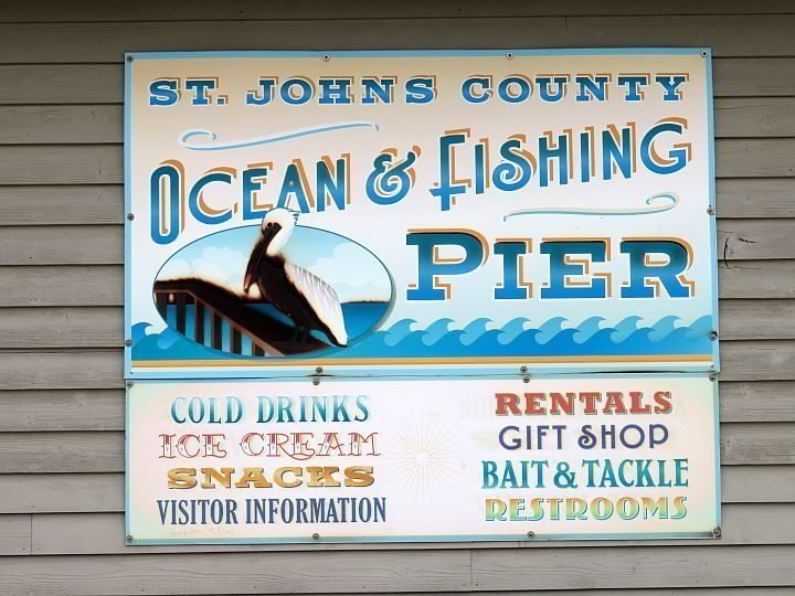 Sign for St Johns County Ocean and Fishing Pier