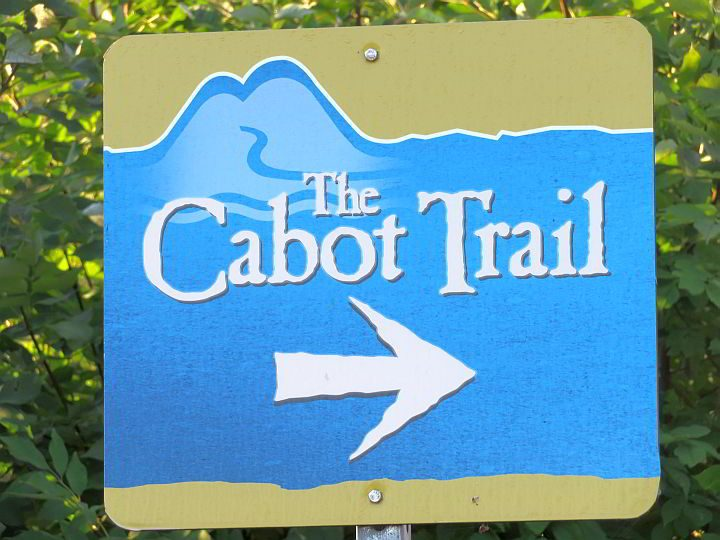 Road sign for The Cabot Trail in Cape Breton Nova Scotia