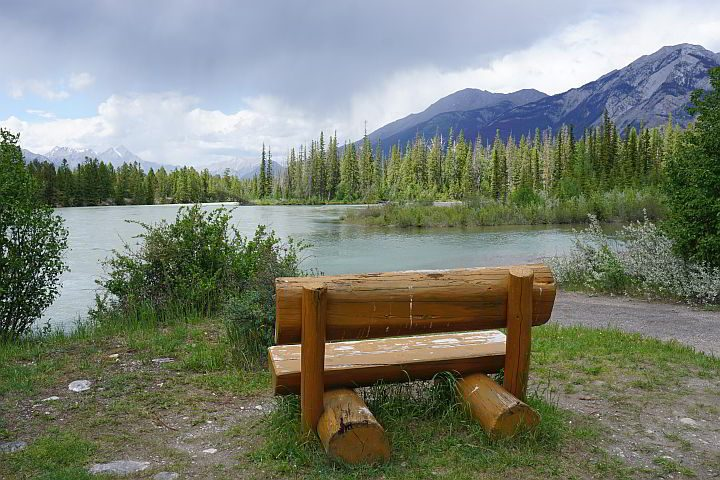 Wooden bench near 6th bridge at Maligne Canyon trail in Jasper AB