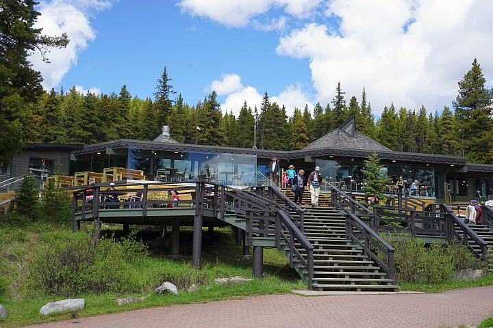 Dining options at Maligne Lake include The View restaurant with patio seating lakefront views