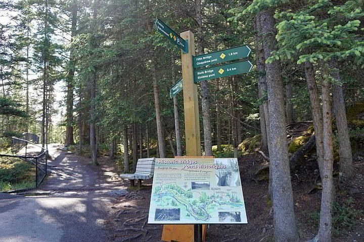 Maligne Canyon hike info and trail distance signage