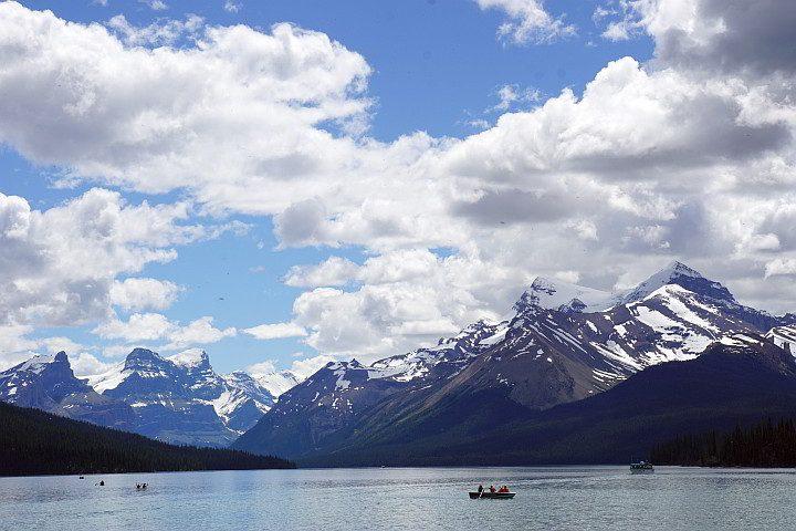 Maligne Lake mountain range Jasper