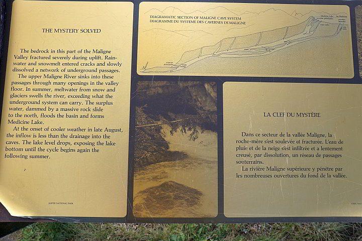 Jasper National Park Maligne Valley information board
