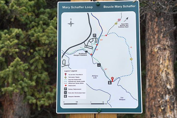 Map of Mary Schäffer Loop trail Maligne Lake