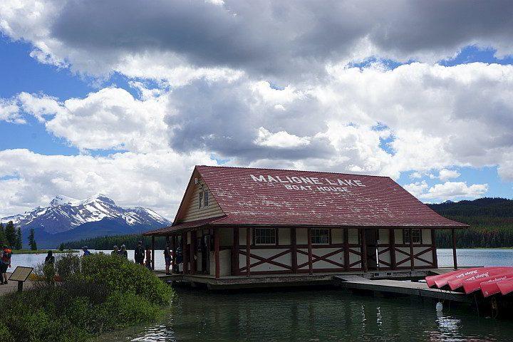 Old boathouse at Maligne Lake