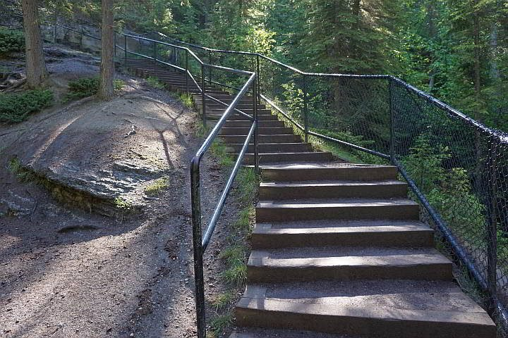 Stairs at Maligne Canyon hiking trail