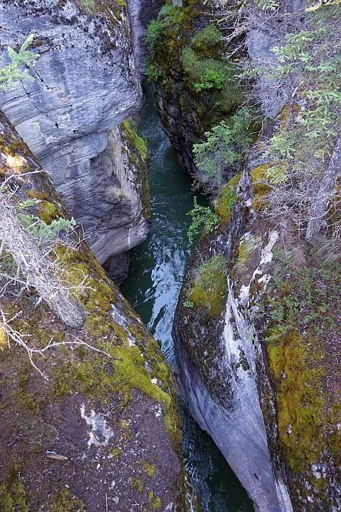 View of the Maligne River canyon from 4th bridge Maligne Canyon Jasper