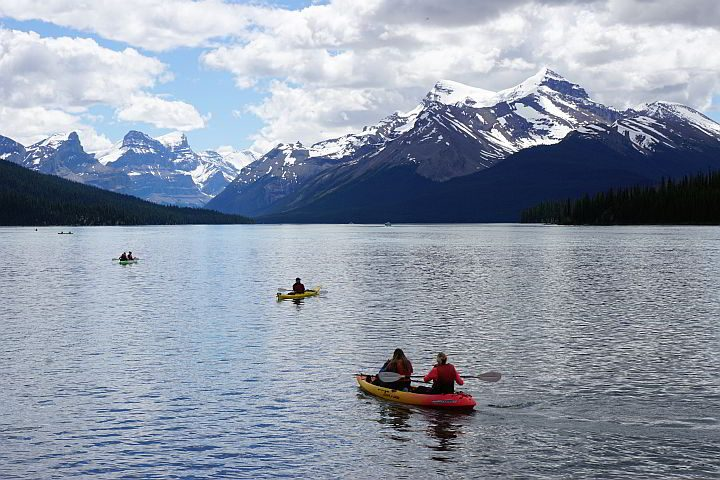 Kayaking at Maligne Lake Jasper Canada