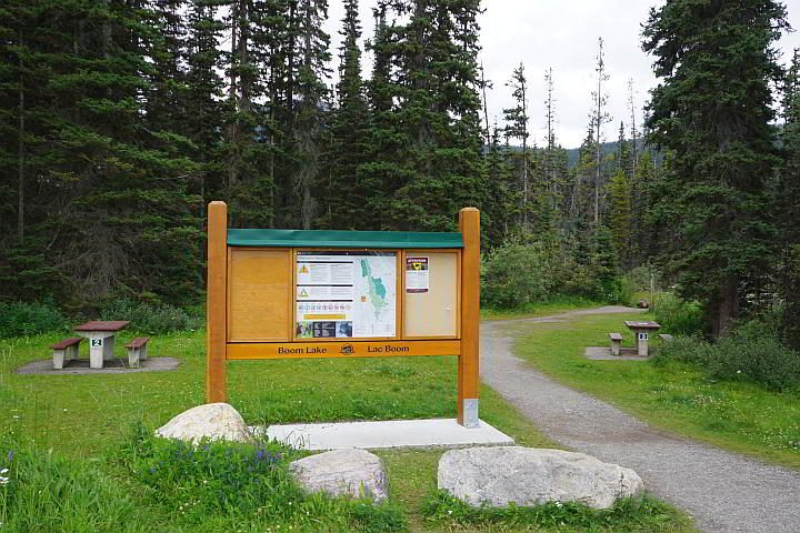 Map and trail sign at Boom Lake trailhead Banff National Park