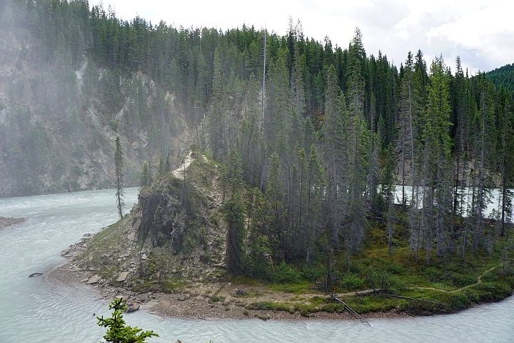 Island within Kicking Horse River BC